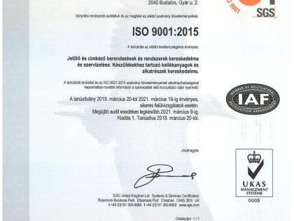 Az AMSY Jelöléstechnika Kft. megkapta az MSZ EN ISO 9001:2015 tanúsítványt